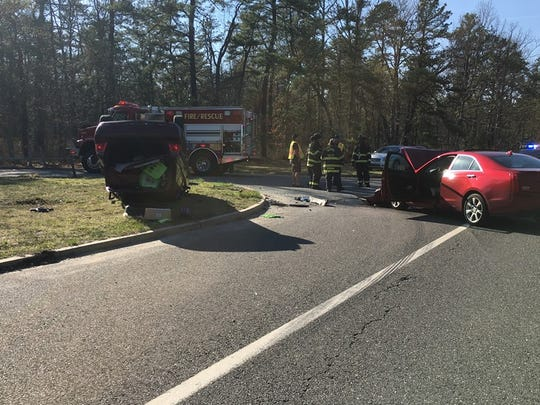 Police say a Ford Focus flipped after colliding with a Cadillac near Cousins Paintball Park Tuesday.