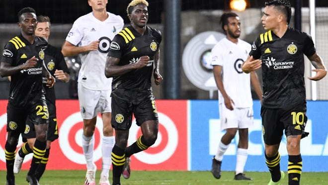 Crew forward Gyasi Zardes (11) scored the only regulation goal in the team's shootout loss to Minnesota United in the knockout round of the MLS is Back tournament on July 28.