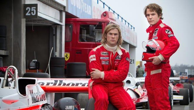 Chris Hemsworth and Daniel Bruhl play Formula 1 drivers James Hunt and Niki Lauda in 'Rush'