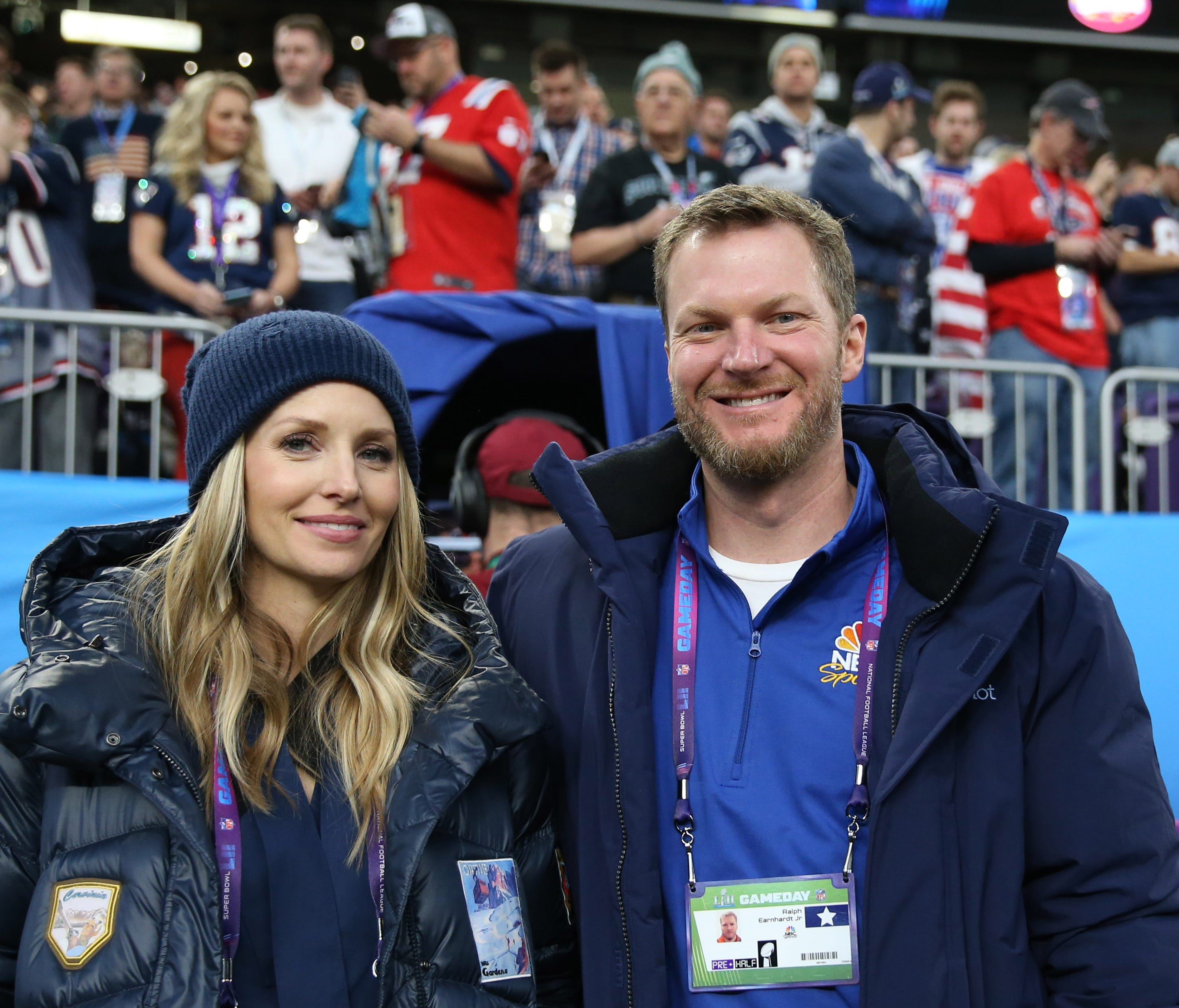 NASCAR retired driver Dale Earnhardt, Jr. and wife Amy Reimann in attendance before Super Bowl LII between the Philadelphia Eagles and the New England Patriots at U.S. Bank Stadium.