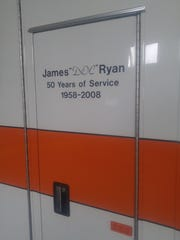 "James ""Doc"" Ryan's name was etched onto the side of"
