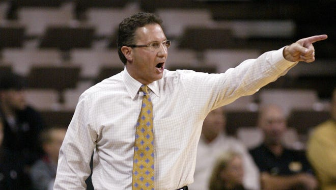 Former Iowa coach Todd Lickliter yells instructions after a Hawkeye defensive lapse resulted in a score by Texas-San Antonio.
