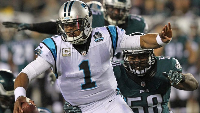The Eagles sacked Panthers quarterback Cam Newton nine times when they faced him last season.