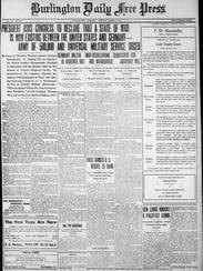 Burlington Free Press front page of April 3, 1917,