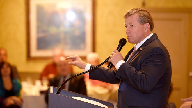 U.S. Congressman Charlie Dent, seen here speaking to members of local service organizations in November, has been a frequent visitor to Lebanon County.