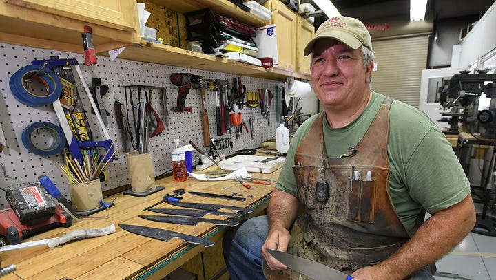 Dan Eastland is making custom knives in his shop right here in Greenville