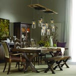 The Willow Bend dining table from Hooker Furniture has an urban farmhouse look. Credit: Hooker Furniture
