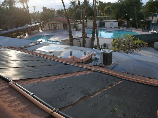 At Palm Desert Country Club, rooftop solar collectors heat water that is then recirculated into one of the community swimming pools, limiting natural gas consumption.