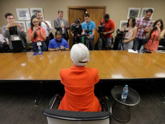 University of Texas at El Paso President Diana Natalicio talks about being included in the 2016 TIME 100 list of the most influential people in the world during a news conference Thursday at the UTEP Administration Building.