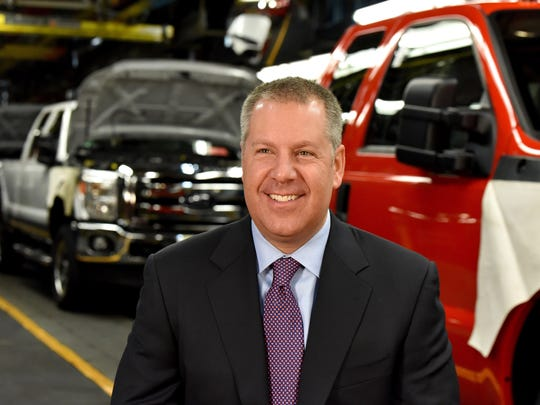 Joe Hinrichs, then-executive vice president and president, The Americas, Ford Motor Company, at the Kentucky Truck Plant in December 2015. He has been promoted.