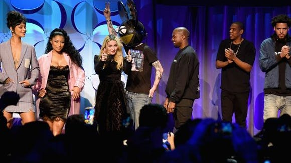 From left, Rihanna, Nicki Minaj, Madonna, Deadmau5,