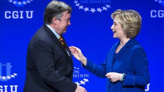 ASU President Michael Crow welcomes Hillary Clinton to ASU