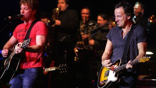 Jon Bon Jovi and Bruce Springsteen in Red Bank.
