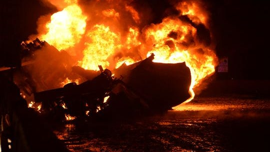 A tanker fire erupts early Thursday morning on I-75 near Outer Drive.