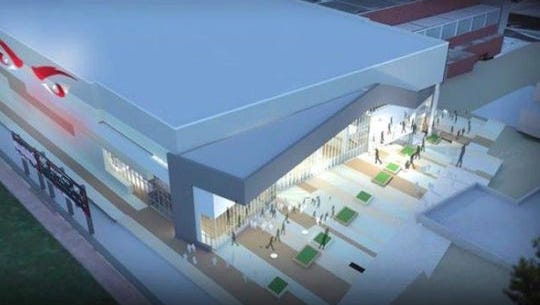 A rendering of what Fifth Third Arena will look like, from the outside.