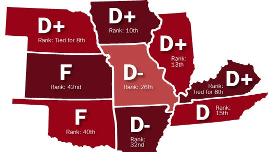 None of the states neighboring Missouri earned a grade better than D+ for government accountability and transparency laws.