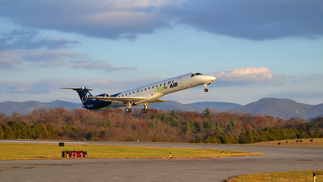 A ViaAir flight takes off from the Shenandoah Valley Regional Airport in Weyers Cave, Virginia.