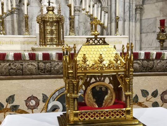 The 150-year-old heart of St. John Vianney is displayed