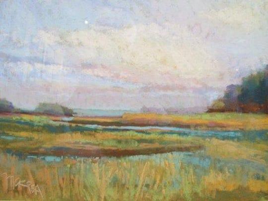 """""""The Wetlands at Anclam Point"""" by Mac Schueppert, the first-prize winner in the Door County Art League Member Showcase exhibit, """"All Along the Shore,"""" at the Door County Maritime Museum."""