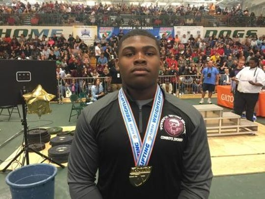 Madison County senior D.J. Hartsfield captured a FHSAA Class 1A weightlifting state title at 219 pounds on Saturday, April 8, 2017, in DeLand.