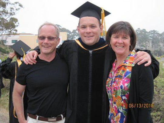 """Shane Todd and his parents. His mother, Mary Todd, recently published """"Hard Drive"""" about his death in Singapore."""