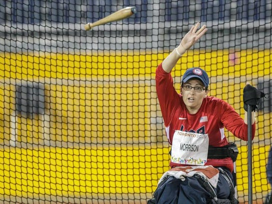 Rachael Morrison competes in the club throw Aug. 10