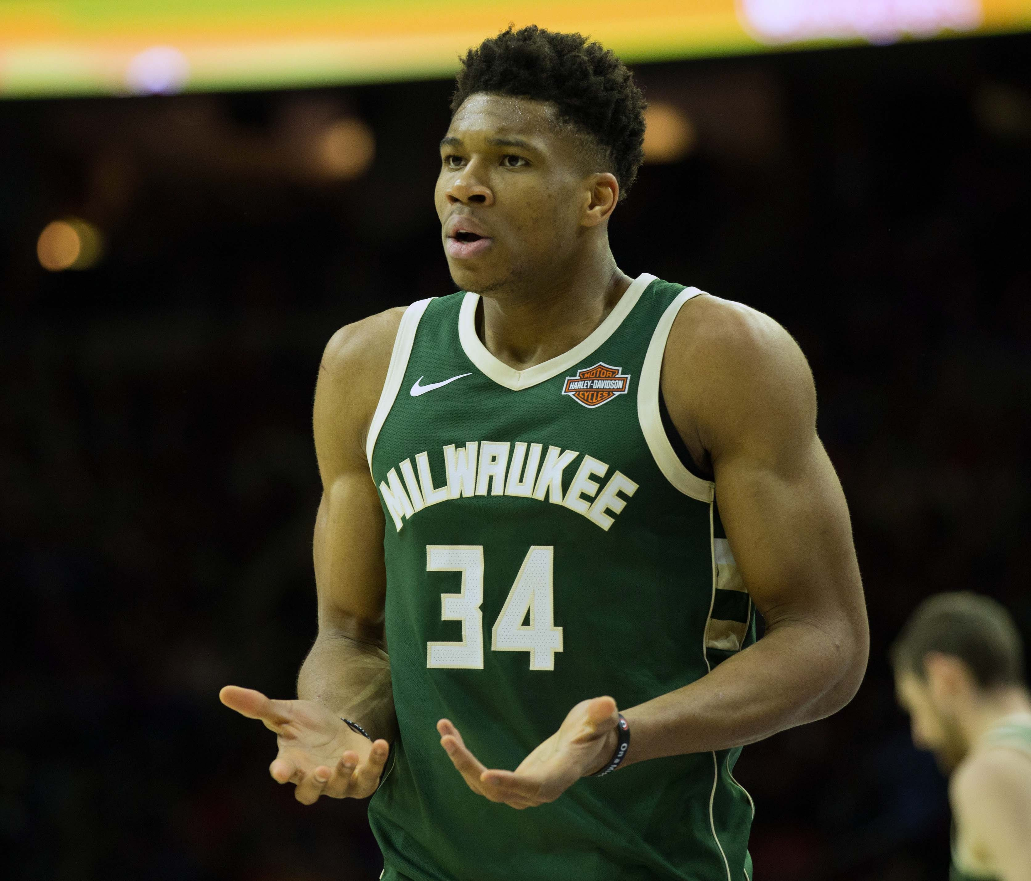 Milwaukee Bucks forward Giannis Antetokounmpo reacts after a turnover against the Philadelphia 76ers during the second quarter at Wells Fargo Center.