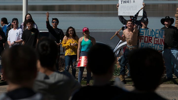 Loveland, CSU walkouts against gun violence draw hundreds, including counter-protesters
