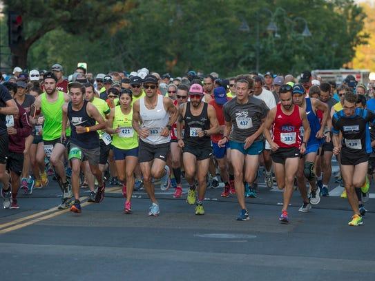 Runners start the Reno 10 Mile Run in downtown Reno