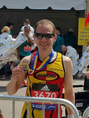 Chris Patterson, 30, of Rochester was among about 100 Rochester-area residents to run the 120th Boston Marathon on April 18, 2016.