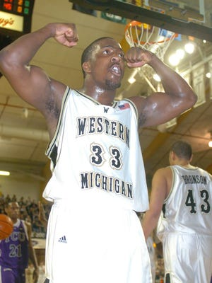 Ben Reed pumps up the crowd at University Arena during his senior season at WMU in 2005.
