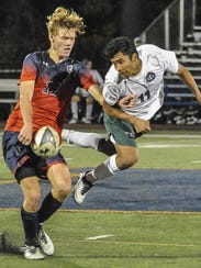 Mendham's Hans Gallagher (12) and Delbarton's Ivan
