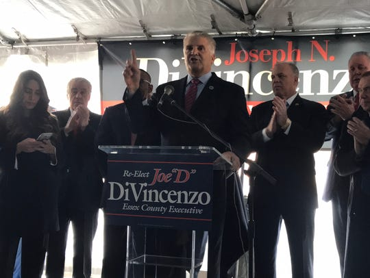 Speaking in Newark on Monday, Dec. 11, 2017, Essex County Executive Joseph DiVincenzo Jr. announces his bid for a fifth 4-year term.