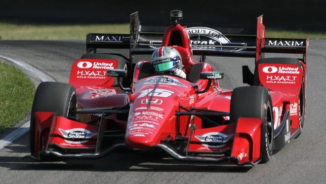 Graham Rahal runs practice laps at the Mid-Ohio Sports Car Course on Saturday morning, in preparation for the Honda Indy 200 on Sunday.