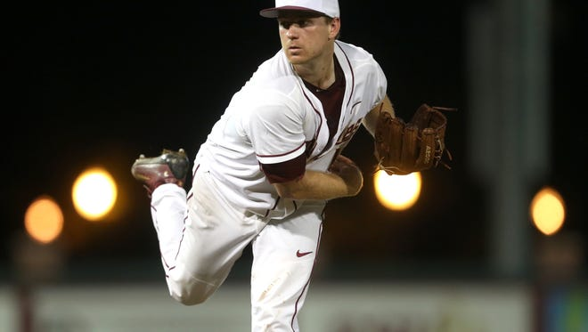 FSU's Andrew Karp pitches against Auburn during their Regional game at Dick Howser on Sunday.