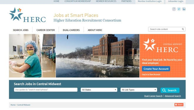 This screenshot shows a new regional job consortium designed to help connect the spouses and partners of Iowa faculty members with jobs opportunities in the region.