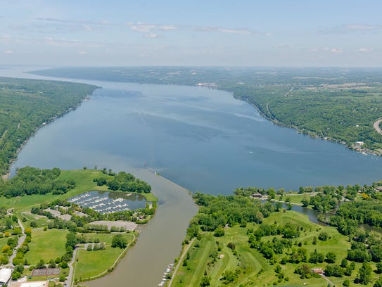 Cayuga Lake with Cass Park, left,  Newman Golf Course,