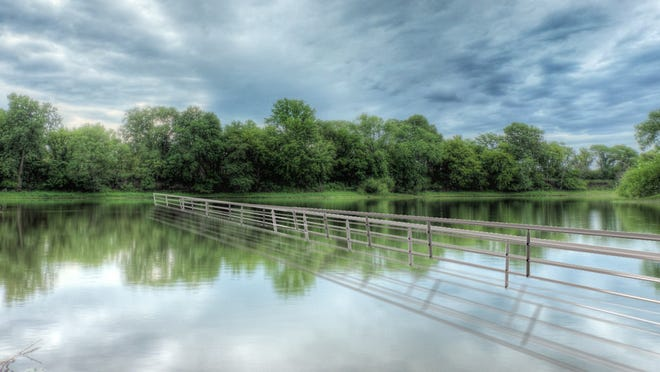 "This rendering of artist Mary Mattingly's partially submerged ""Wading Bridge"" shows how it will stretch almost invisibly across the Raccoon River in Water Works Park."
