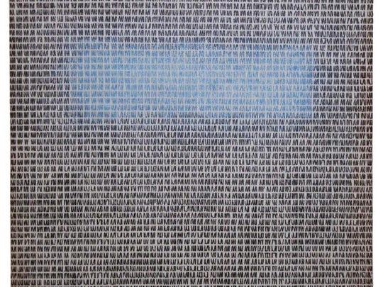 """""""Scribbles in Blue,"""" etching by Lynn Herring."""