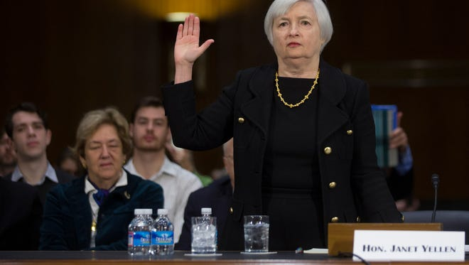 Janet Yellen testifies at her confirmation hearing Thursday.