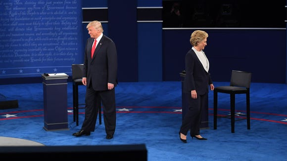 Hillary Clinton and Donald Trump take part in the second