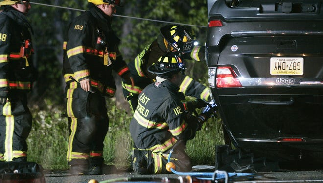 Firefighters from the East Freehold Fire Department had to extricate the driver from an overturned vehicle on Route 9 Northbound, north of Elton-Adelphia Road (Route 542), May 16, 2016, in Freehold Township.