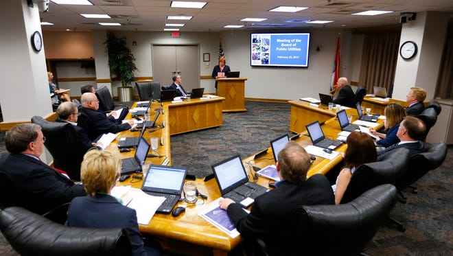 Vicke Kepling, speaking for the group Citizens Against CU Rate Increases, addressed the City Utilities board members at a meeting on Thursday, Feb. 23, 2017. The citizen group is asking CU for answers after CU raised natural gas rates.