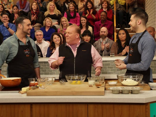 Tony Lanuza and Chris Poeschl, The Brooklyn Barons, on the set of The Chew with  cohost Mario Batali.