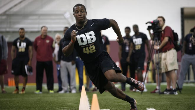 Defensive Back Lamarcus Brutus works out during FSU's Pro Day at the Dunlap Training Facility