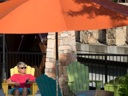 A Pigeon Forge visitor hangs out at the Margaritaville