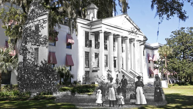 This photo mashup of the Old Capitol blends an image of modern day with a photo from the state archives.