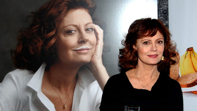 "Susan Sarandon attends the unveiling of her milk mustache ""Got Milk?"" campaign ad in New York in 2011."