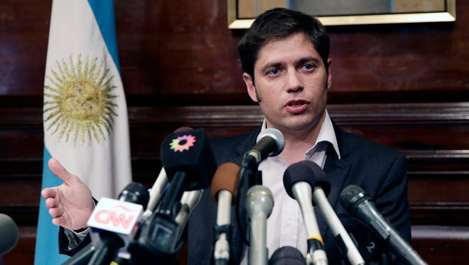 Axel Kicillof, Argentina's economy minister addresses the media at the Consulate General of Argentina after departing a mediation meeting in New York City, Wednesday.