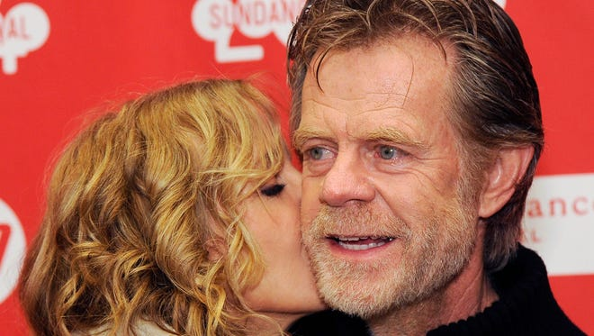 William H. Macy gets a kiss from his wife,  Felicity Huffman, at the premiere of 'Rudderless' at the 2014 Sundance Film Festival.